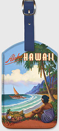 Aloha Hawaii - Hawaiian Leatherette Luggage Tags