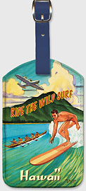 Ride the Wild Surf Hawaii - Hawaiian Leatherette Luggage Tags