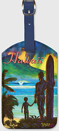Ancient Hawaii - Hawaiian Leatherette Luggage Tags