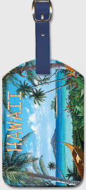 Hawaii - Tropic Travels - Hawaiian Paradise Ocean View - Hawaiian Leatherette Luggage Tags