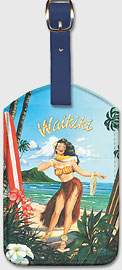 Waikiki Hawaii - Hula Girl Dancer - Hawaiian Leatherette Luggage Tags