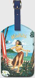 Waikiki Hawaii - Hula Girl Dancer - Hawaiian Leatherette Luggage Tags