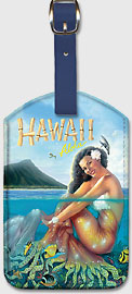 Hawaii Aloha - Hawaiian Mermaid - Hawaiian Leatherette Luggage Tags