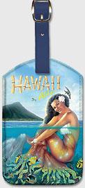 Hawaii Aloha - Hawaiian Mermaid - Hawaiian Leatherette Luggage Tags