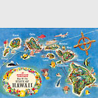Hawaiian Airlines State Map - Hawaii Magnet