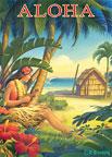 Aloha - Hawaii - Hula Dancer with Ukulele - Hawaii Magnet
