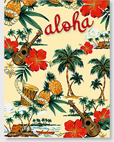 Island Scene - Hawaiian 'Alohi Magnet - Glitter Embellished