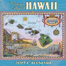 Vintage Maps of Hawaii - 2019 Deluxe Hawaiian Wall Calendar