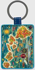 Map of Hawaiian Islands - Hawaiian Leatherette Keychains