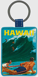Hawaii - Big Wave Surfing at Waimea - Hawaiian Leatherette Keychains