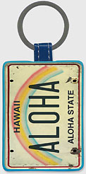 Aloha License Plate - Hawaiian Leatherette Keychains