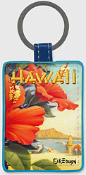 Hibiscus Beach Day - Hawaiian Leatherette Keychains