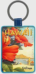 Hibiscus Beach Day - Hawaiian Leatherette Keychains