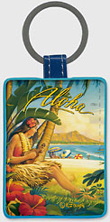 Greetings from Waikiki - Hawaiian Leatherette Keychains