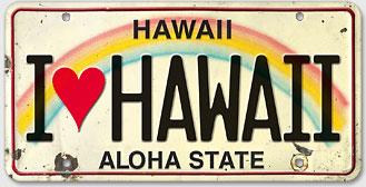 I Love Hawaii - Hawaiian Vintage License Plate