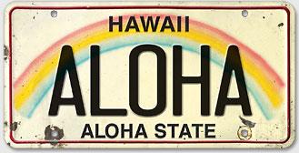 Aloha - Hawaiian Vintage License Plate